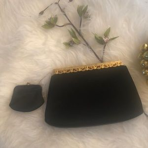 Vintage looking black gold clutch with coin purse